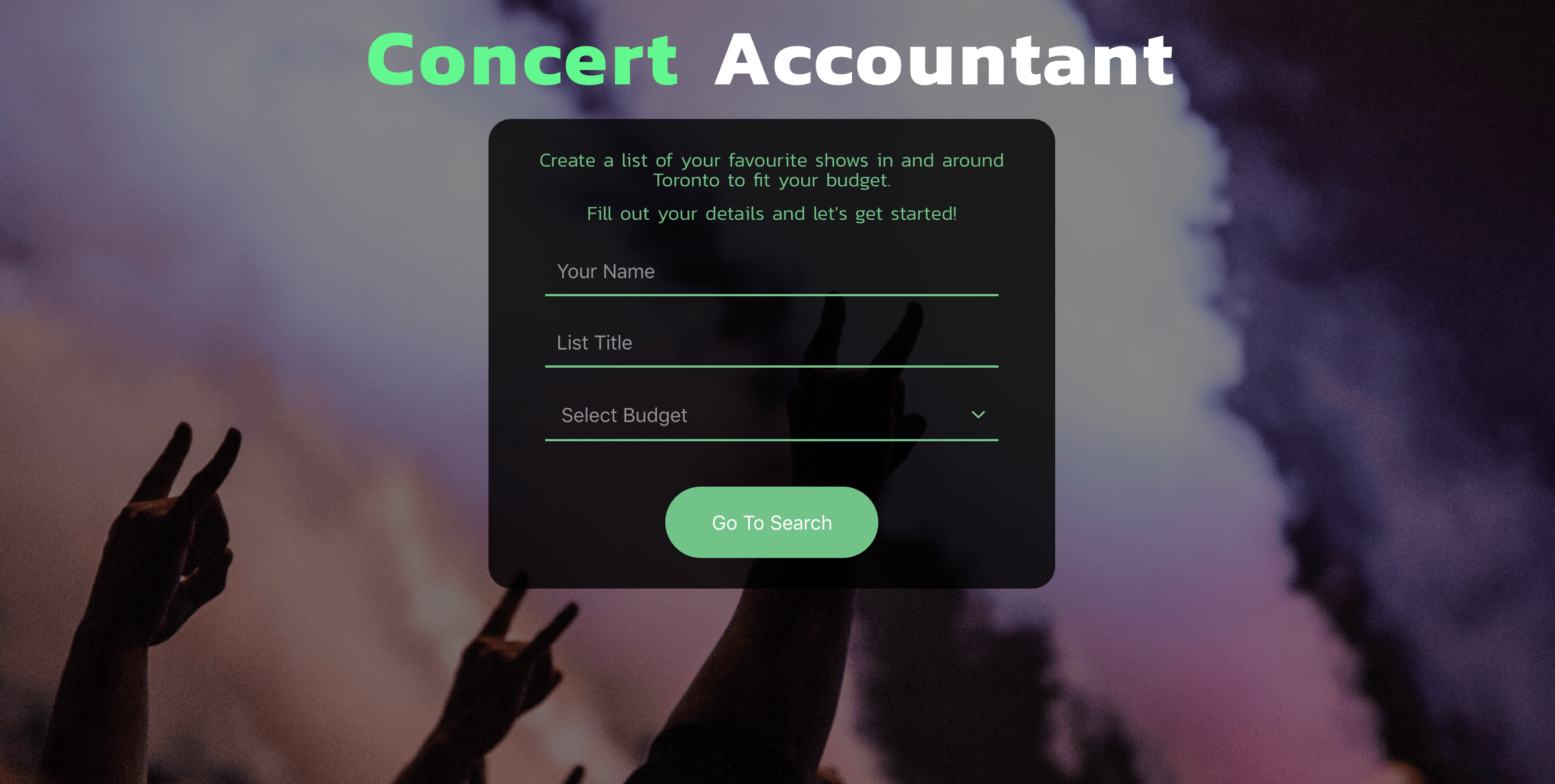 A photo of Concert Account App Project.